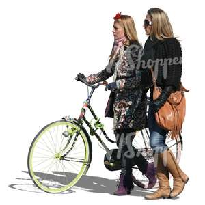 two women walking with a bike