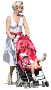 woman in a dress pushing a stroller