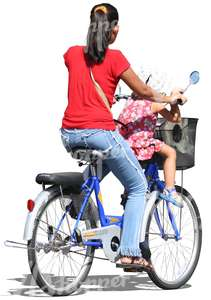 woman with a child riding a bicycle