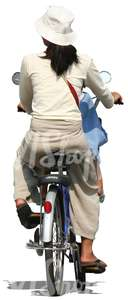 asian woman and a child riding a bike