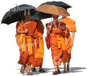four buddhist monks walking with umbrellas