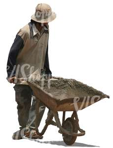 cut out asian worker pushing a barrow