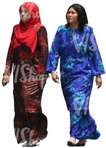 cut out muslim women in colorful abayas walking