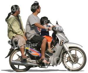 cut out asian family riding a scooter