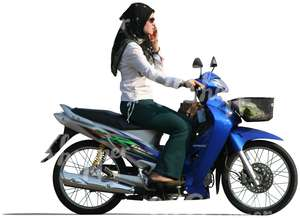 cut out muslim woman riding a motor scooter