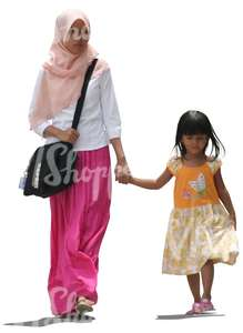 cut out muslim woman walking with her daugther