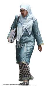 cut out muslim woman in a blue abaya walking