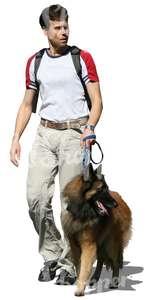 man walking with a big dog