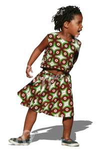 black girl in a dress playing