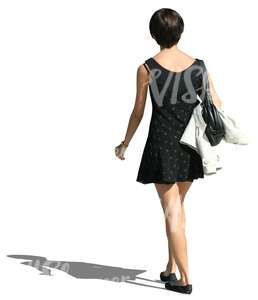 woman in a black mini dress walking