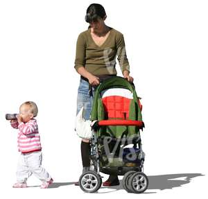 woman walking with her small child