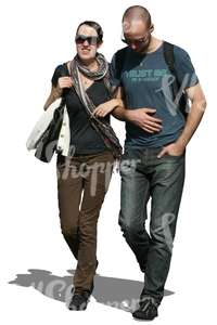 man and woman walking arm in arm