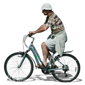 man with a hat riding a bike