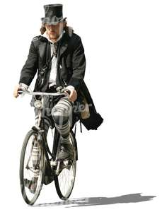 bohemian man riding a bike