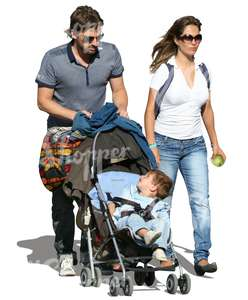 man and woman pushing a baby stroller