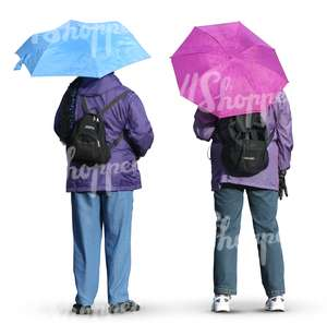 two people standing with umbrellas