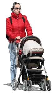 woman pushing a baby stroller