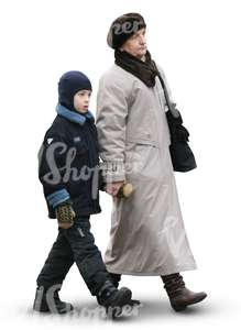 grandmother and grandson walking hand in hand