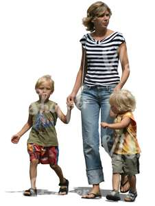 woman with two children walking