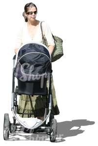 woman pushing a baby carriage