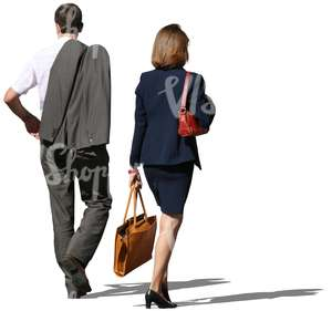 businesman and businesswoman walking