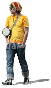 man with a drum standing