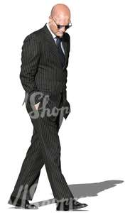 businessman in a striped suit walking