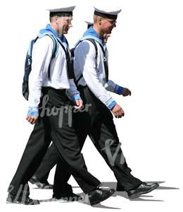three sailors walking