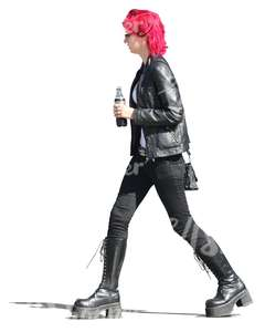 red-haired woman walking