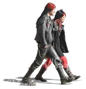 couple in punk style clothing walking