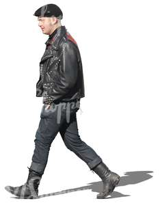 man in punk style clothing walking