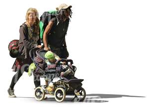 bohemian family pushing a baby stroller