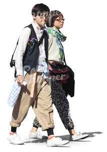 two bohemian asian people walking together