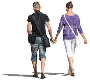 couple walking hand in hand seen from behind