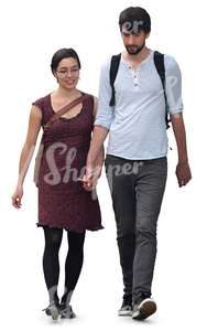 dark-haired couple walking hand in hand