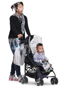 asian woman pushing a stroller