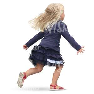 little blonde girl running around