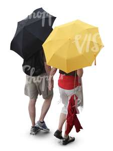 couple walking in the rain under umbrella seen from above