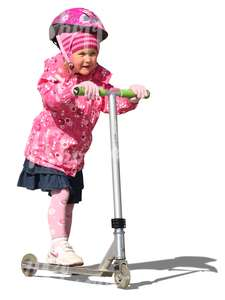 girl with a pink helmet riding a scooter