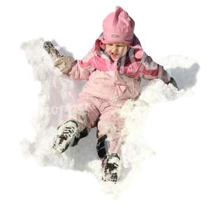 young girl in a pink costume having fun in the snow