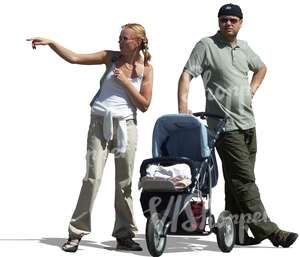 family with a baby carriage standing and pointing
