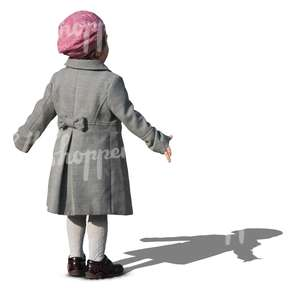 young girl in a grey coat and pink beret