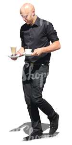 bald male waiter with coffee cups