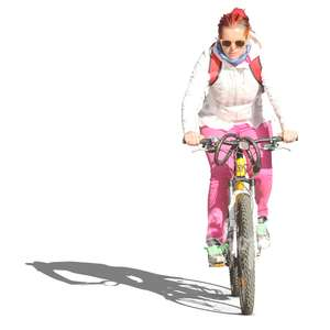 girl with pinkish hair riding a bicycle