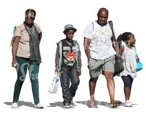 black family of four walking