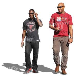 two black men walking and laughing