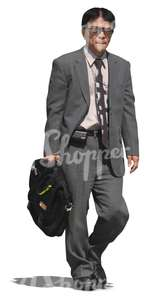 asian businessman with sunglasses and a briefcase