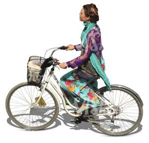 woman in a colorful dress riding a citybike