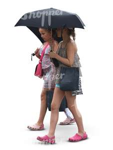 two young girls walking under an umbrella