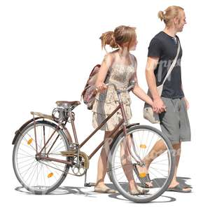 couple with a bicycle and holding hands